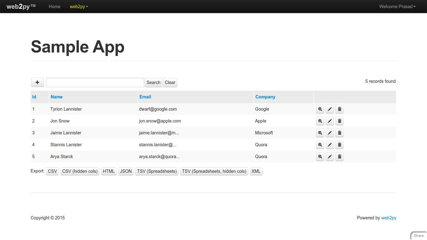 Export in Web2Py's SQLFORM grid – Prasad Muley
